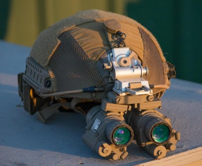 The helmet requires a counterweight to balance out the dual monocular night vision system.