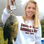 Victoria Navaroli of Charlotte recently caught this North Carolina state record green sunfish from a private pond in Creston.