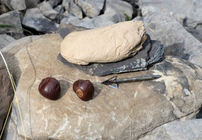 Hunters often carry mementos and good-luck charms like buckeyes, broadheads, and personal keepsakes.
