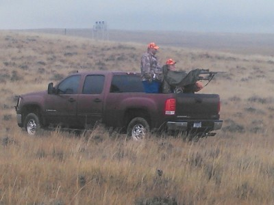 Helluva Hunters like 12-year-old Roy Thorson make their shots from the beds of pickup trucks using special equipment. Image courtesy Dawn Thorson.