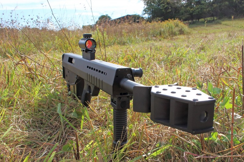 The Leader 50 A1 is equipped with a serious muzzle brake to help tame the recoil of the .50 BMG round in such a light gun.