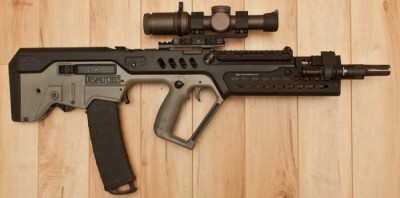 Another shot of the author's Tavor with the Midwest Industries hanguard and Vortex 1-6x scope. Image by Edward Osborne.
