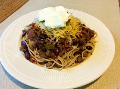 This Cincinnati style chili-spaghetti dish tastes as good as it looks.