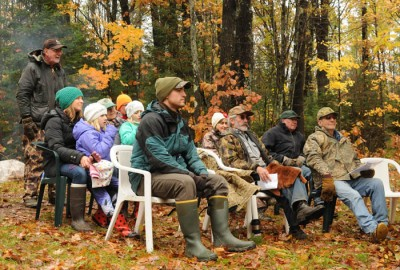 "Eighteen hardy citizen-sawyers took part in a re-enactment of Aldo Leopold's ""Good Oak"" chapter from his book 'A Sand County Almanac.'"