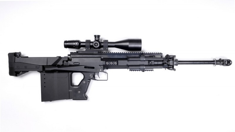 The GM6 Lynx bullpup .50 BMG rifle. It's quite compact for a .50 caliber firearm.