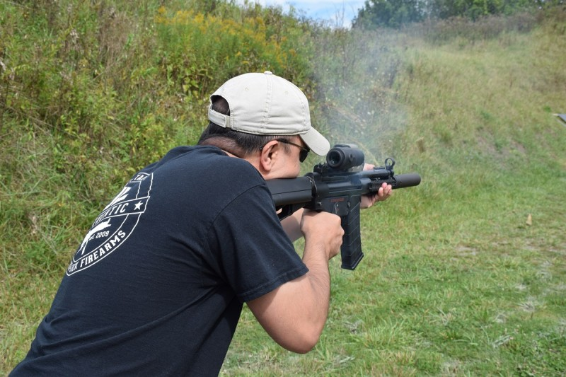 Joe Stoppiello fires the D300P in full auto.