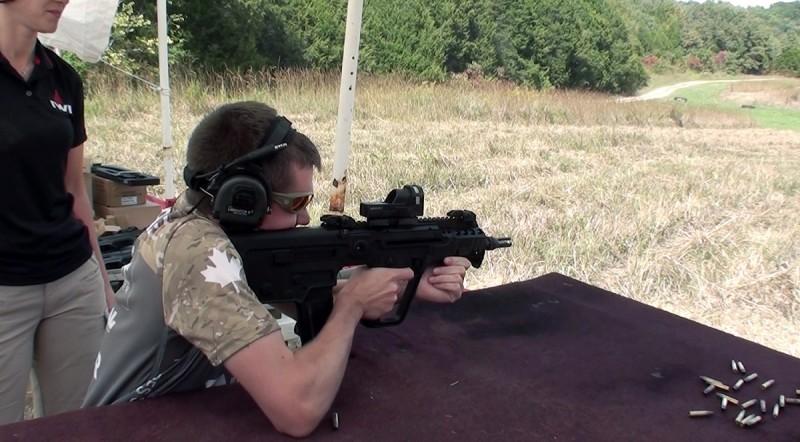 The author shooting the IWI US X95. Image courtesy Edward Osborne.