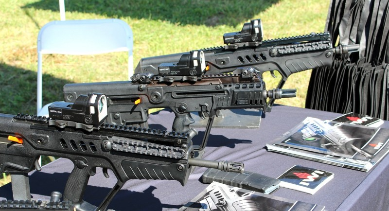 """The select-fire IWI US CTAR-21 (rear) and X95 (middle) with a """"standard"""" Tavor. Image by Edward Osborne."""