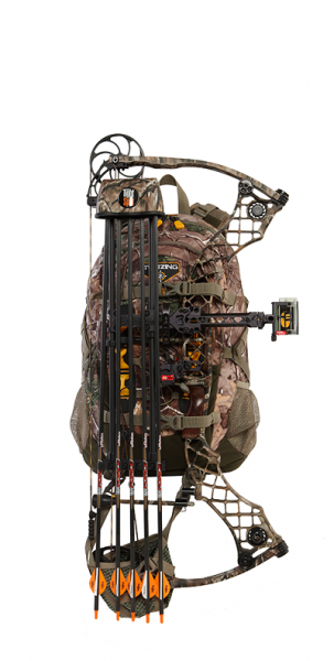 One of the many great features of the pack is the ability to securely fasten a bow or gun to it to leave your hands free to carry other items.