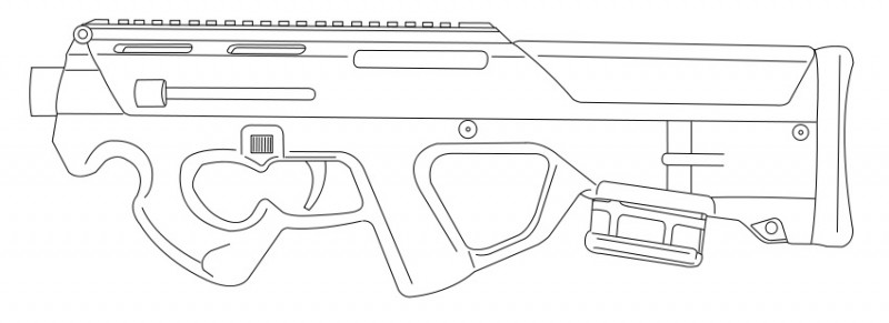 A line drawing of the Magpul PDR, which never left the prototype stage. Image by Wikimedia Commons user Evers.