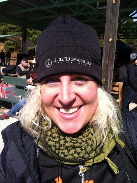 The author wears her Leupold beanie to stay warm during the competition. Image by Renee Livingstone.