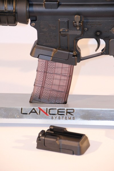 A Lancer rifle equipped with an Adaptive Magwell.