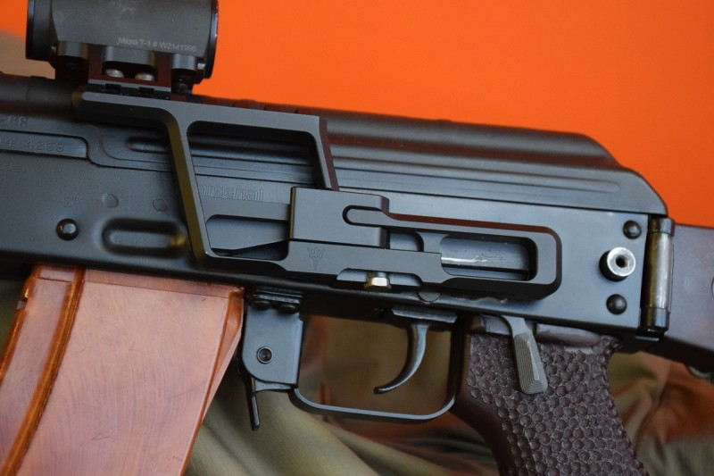 A close-up on the AK-301 and AKML on Scot's Bulgarian AK carbine. AK-300 lowers can be adjusted to fit almost any Eastern European or Serbian side rail by using the adjustable locking bolt on the bottom of the lower. Image by Matt Korovesis.