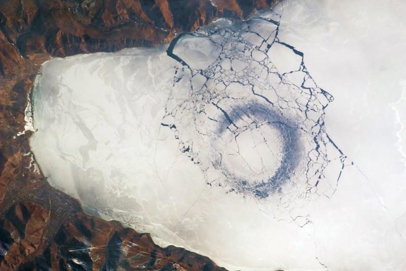 Ice breaking in Lake Baikal. Image from NASA Earth Observatory.