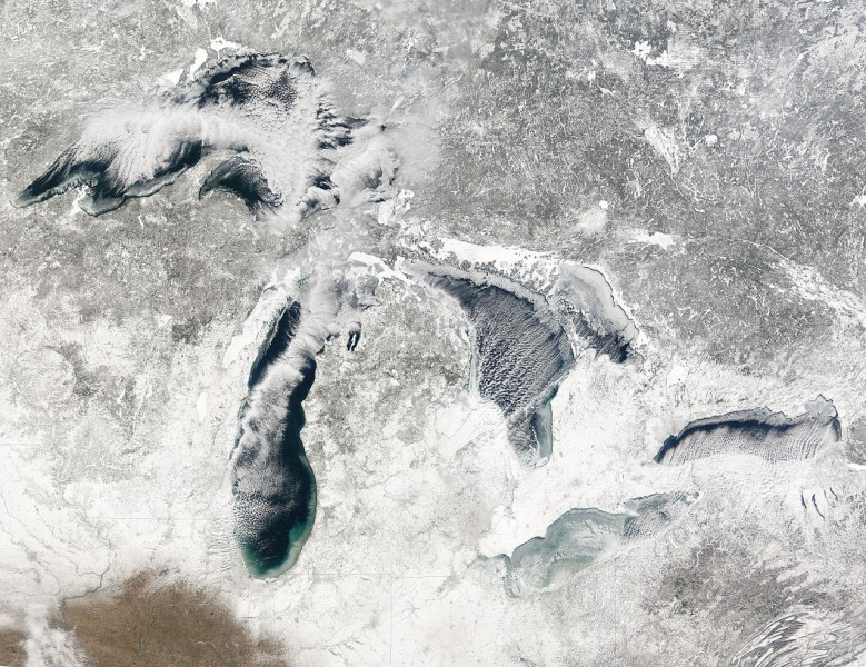 The Great Lakes during early winter in 2005. Image from NASA.