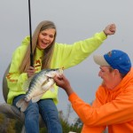 Bella Bertarelli catches nice deep-water winter crappie while fishing with Kyle Schoenherr.