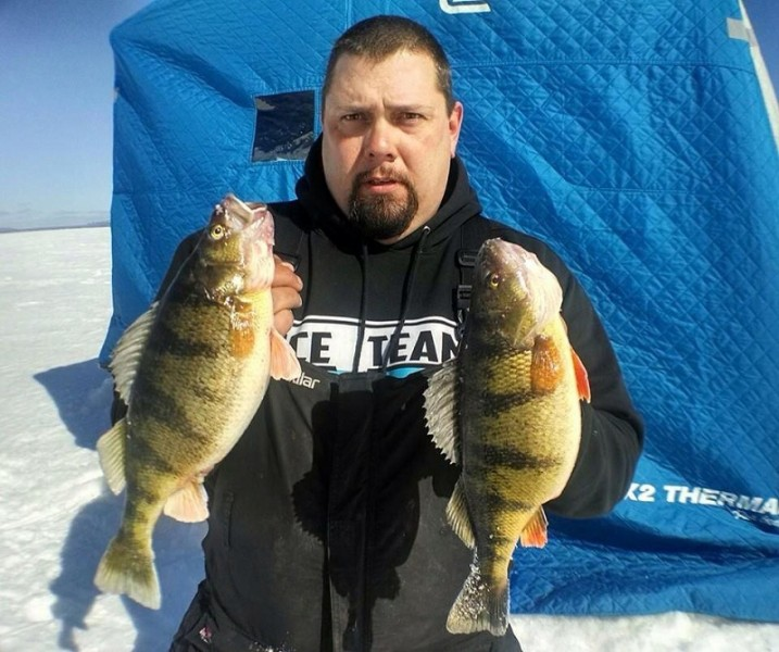 Guy Jon Sibley with his magnum jumbo perch from Lake Gogebic. Image courtesy Guy Jon Sibley.