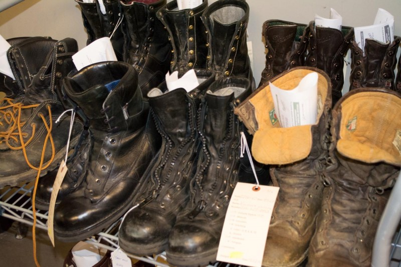 Some well-worn boots waiting on rehab at the recrafting center.