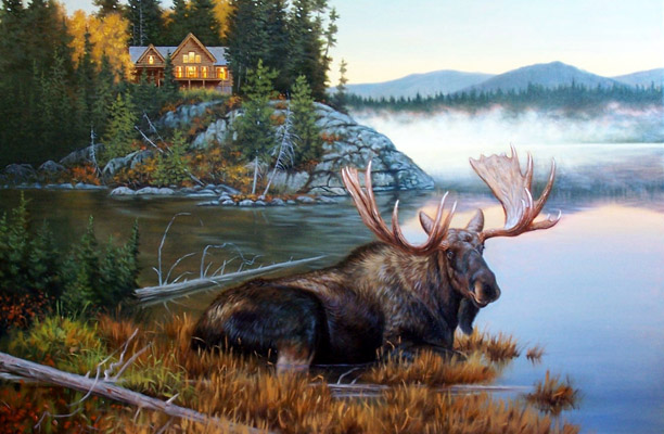 Dunn's third Canadian moose hunt would prove to be a successful one. Art by Dallen Lambson.