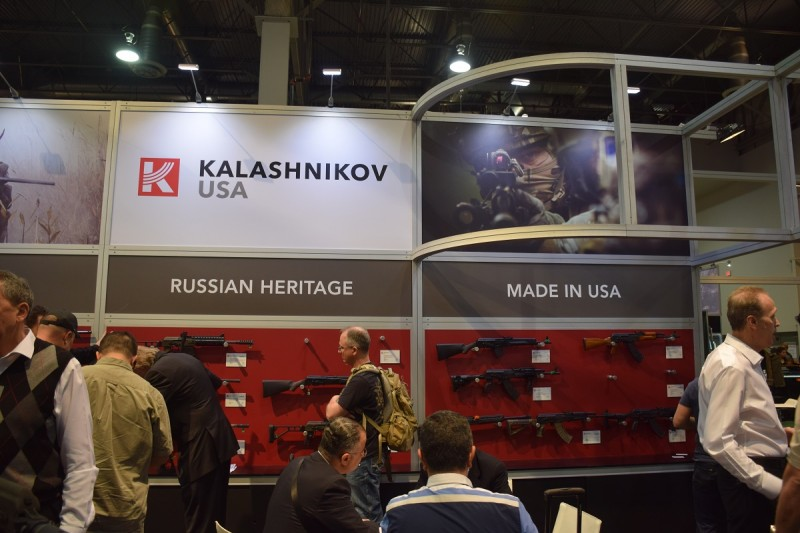 The Kalashnikov USA booth at SHOT 2015. The firearms on display were still built in Russia, but the company hopes to have their first American-made AKs available later in 2015.