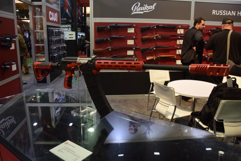 A Saiga shotgun customized for 3-gunning on display at the Kalashnikov USA booth.