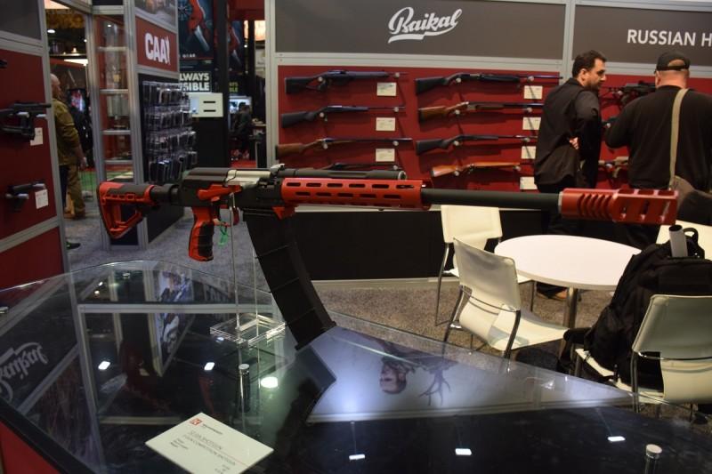 A Saiga shotgun customized for 3-gunning on display at the Kalashnikov USA booth.