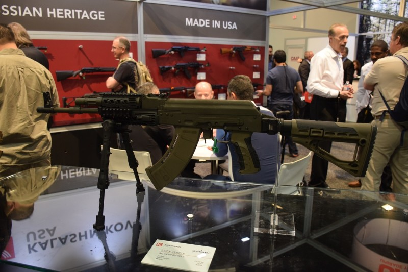 A Russian-made rifle on display at the Kalashnikov USA booth.