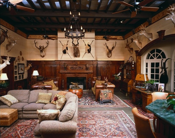 This room is mostly dark, but the light and neutral colored walls help give the taxidermy a strong presence.