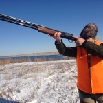 The author shouldering the Benelli 828U.