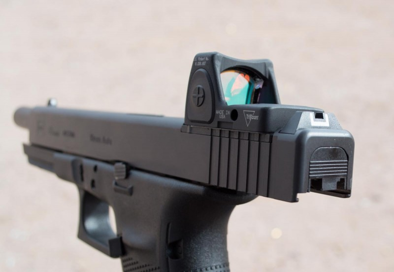 The new Glock MOS models feature a slide cutout with plates for mounting a variety of red dot optics.