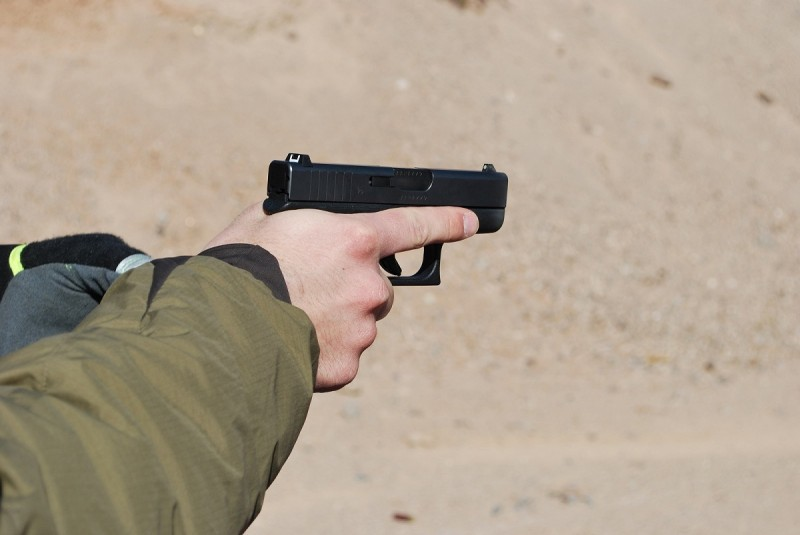 The author shooting the Glock 42 at SHOT Show 2014's Media Day.