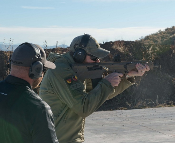 A Desert Tech MDR prototype in .308 being fired at the December 2014 media event. Image by Dave Bahde.