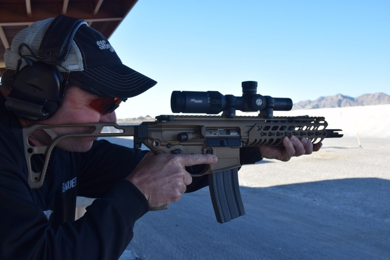 An SBR variant of the MCX without a suppressor. The gun was still very easy to control with supersonic 300 BLK loads.