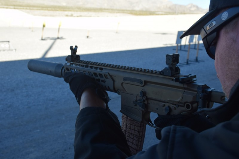 The MCX utilizes AR-pattern mags and features ambidextrous, AR-style fire controls.