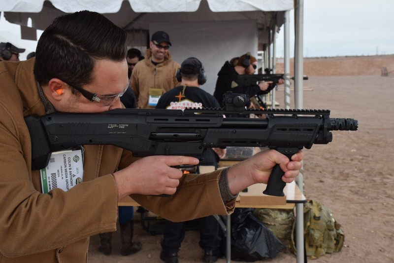 Colin Anthony shoots the DP-12. Image by Matt Korovesis.