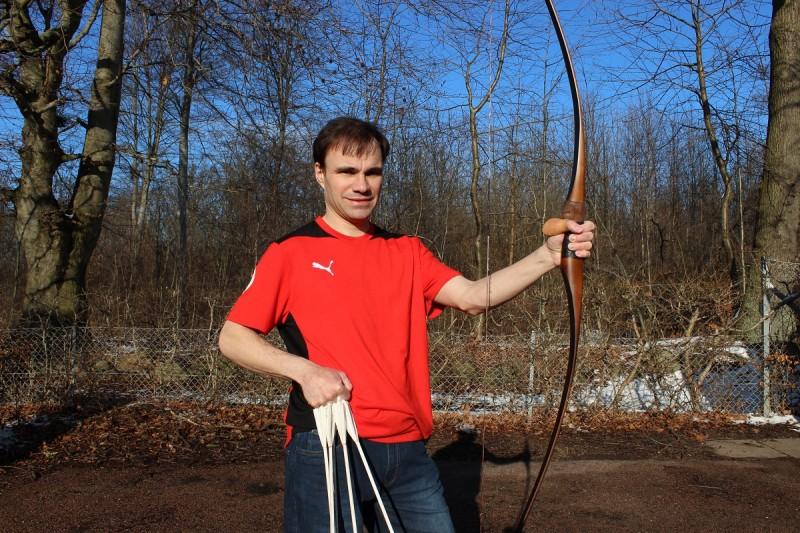 Lars with his custom longbow.