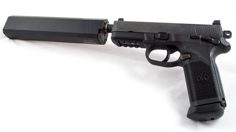 Once you go suppressed, you never go back. Here's an FNX 45 Tactical with SilencerCo Osprey 45.