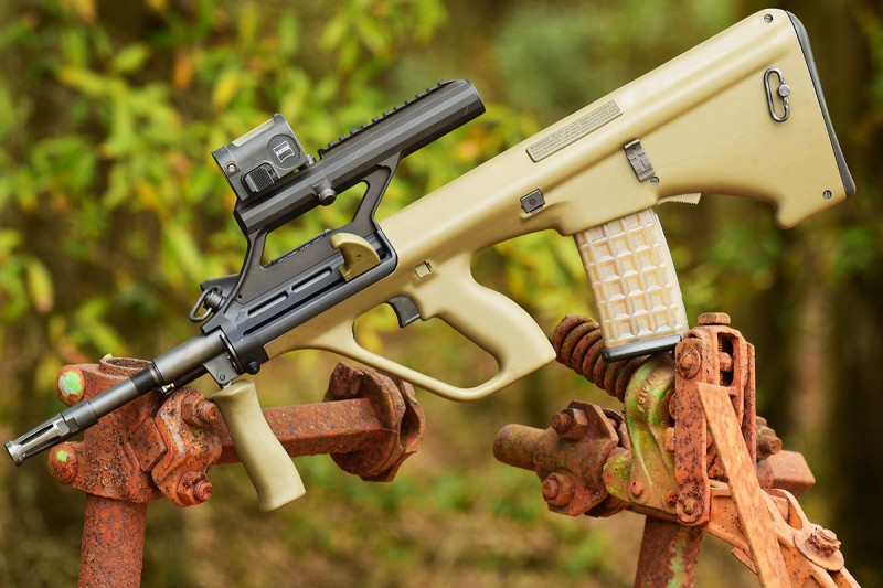 With nigh-indestructible magazines, integrated optic and foregrip, the Steyr AUG M1 is in a class of its own.