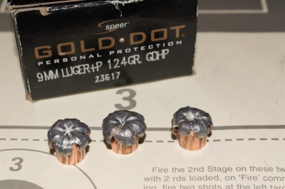 Speer's Gold Dot +P 124 grain bonded bullets.