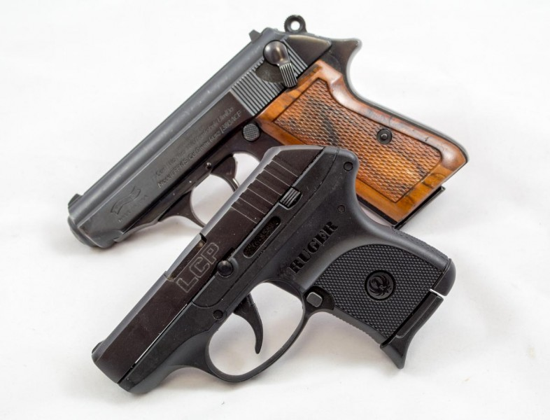 While certainly heavier, the Walther PPK/S is not much bigger than the tiny Ruger LCP (foreground).