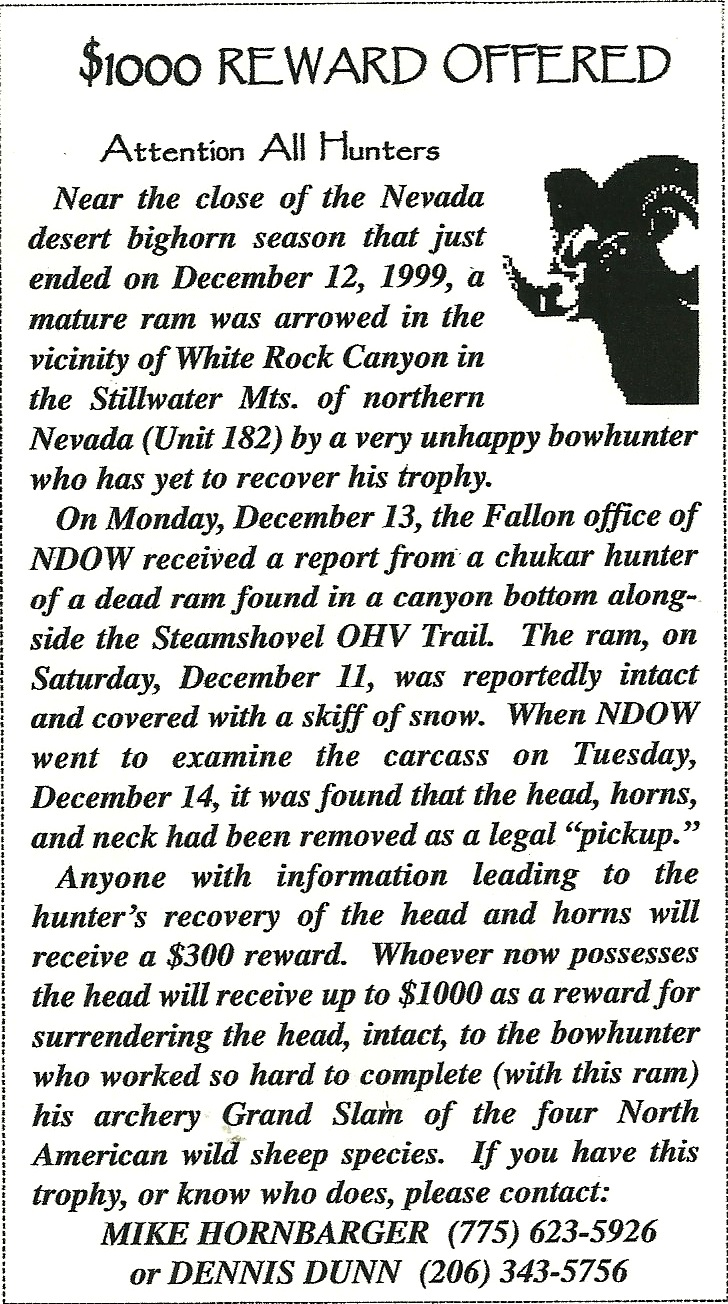 The ad the author placed in Nevada newspapers in search of his trophy.