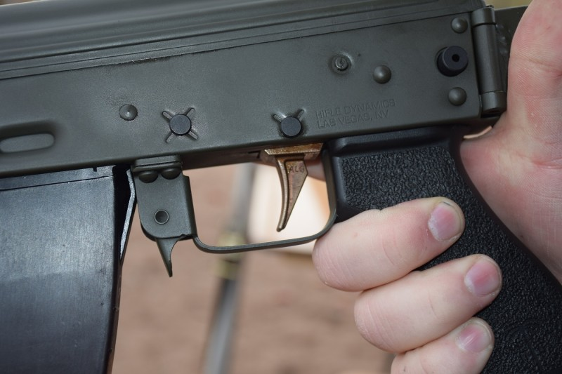 The ALG Defense AK trigger. This picture was taken at SHOT Show 2015's Industry Day.