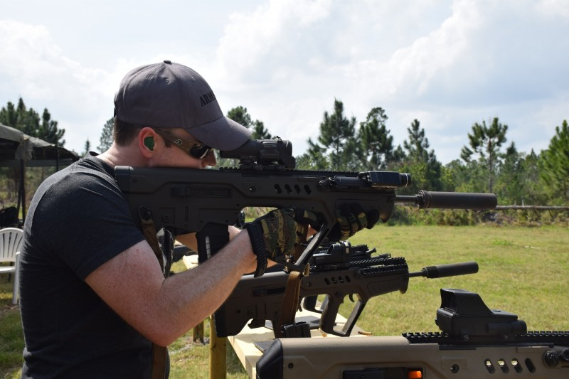 Jim Grant shoots one of several Tavors equipped with a Geissele Super Sabra and Lightning Bow at Big 3.