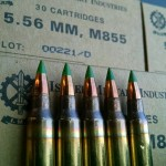 "Five rounds of Israeli-made M855 ""green tip"" 5.56x45mm ammunition. A proposal by the BATFE would ban the commercial sale, production, and importation of the round. Image by Matt Korovesis."