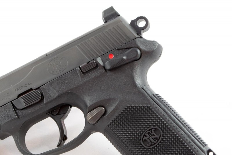 You can carry the FNX 45 Tactical in double-action mode with safety on, or cocked and locked. Your choice.
