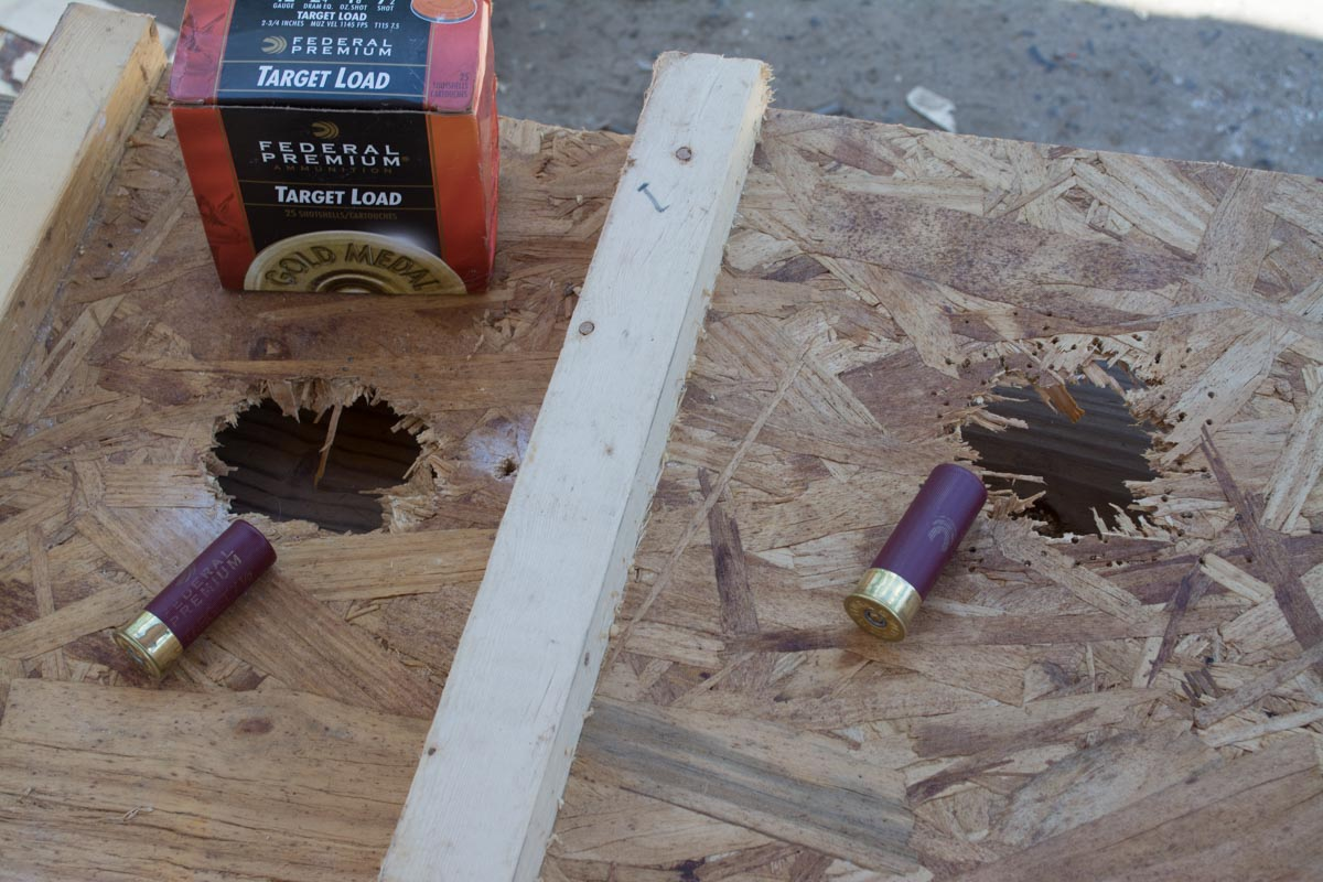 """At a range of 10 feet, even #7 1/2  birdshot penetrated (2) 1/2"""" thick pieces of plywood."""