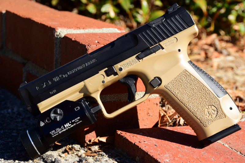 In line with many other modern designs, the striker-fired Canik TP9SA is made in Turkey and features a polymer frame.