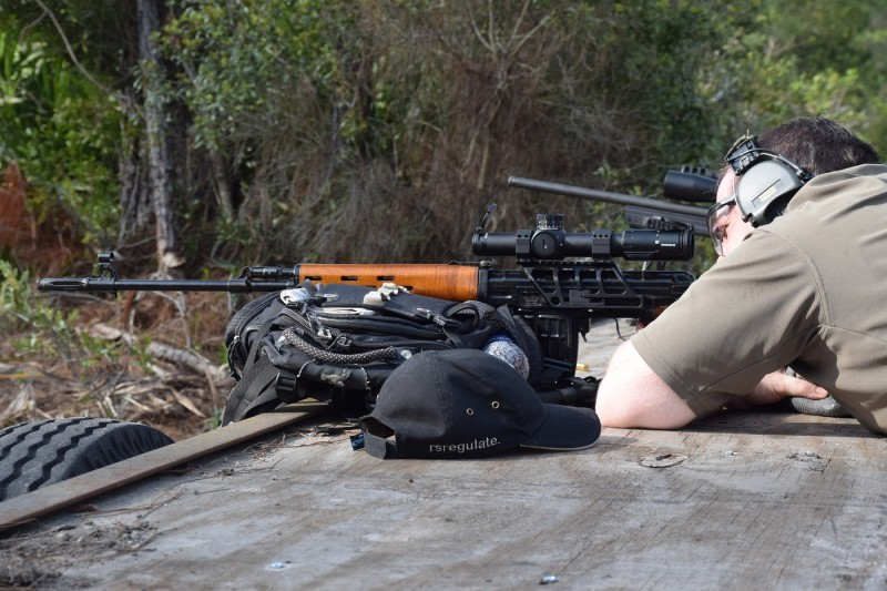 Scot takes aim with his NDM-86 featuring a prototype SVD-305. The one-piece mount allows users to equip their classic Combloc rifles with modern optics.