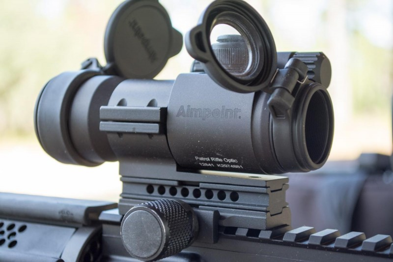 Aimpoint's Patrol Rifle Optic. Note the auto-torquing mount.