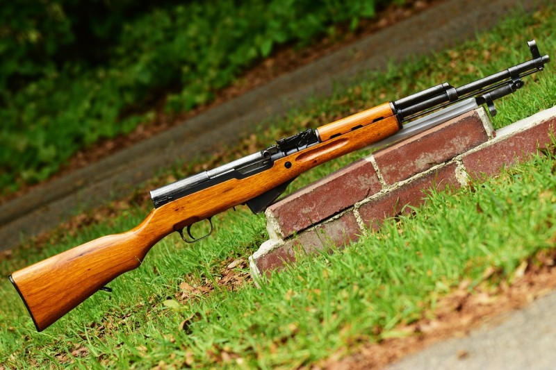 The SKS shoots the same 7.62x39 round as the AK-47/AKM family of firearms, but is perhaps less widespread.
